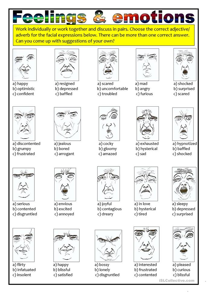 Feelings and emotions ... - ESL worksheets