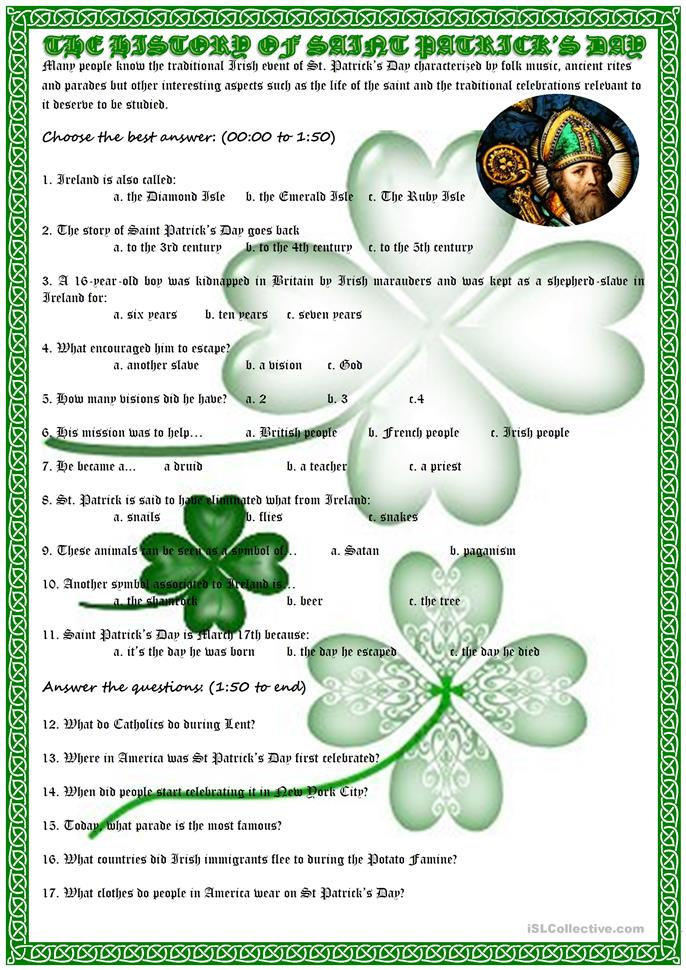 History of Saint Patrick's day - ESL worksheets
