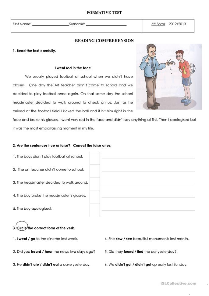 I went red in the face - ESL worksheets