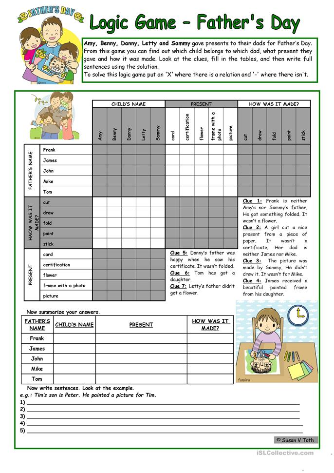 Logic game (38th) - Father´s Day *** for elementary ss *** with key... - ESL worksheets