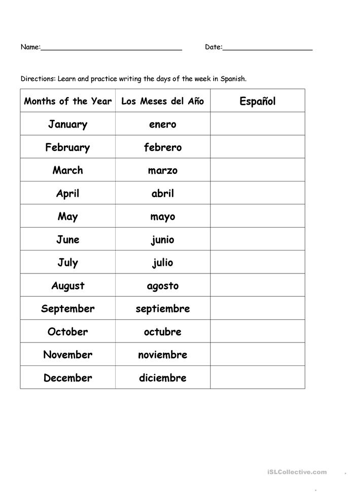 English In Italian: Months Of The Year In Spanish Worksheet