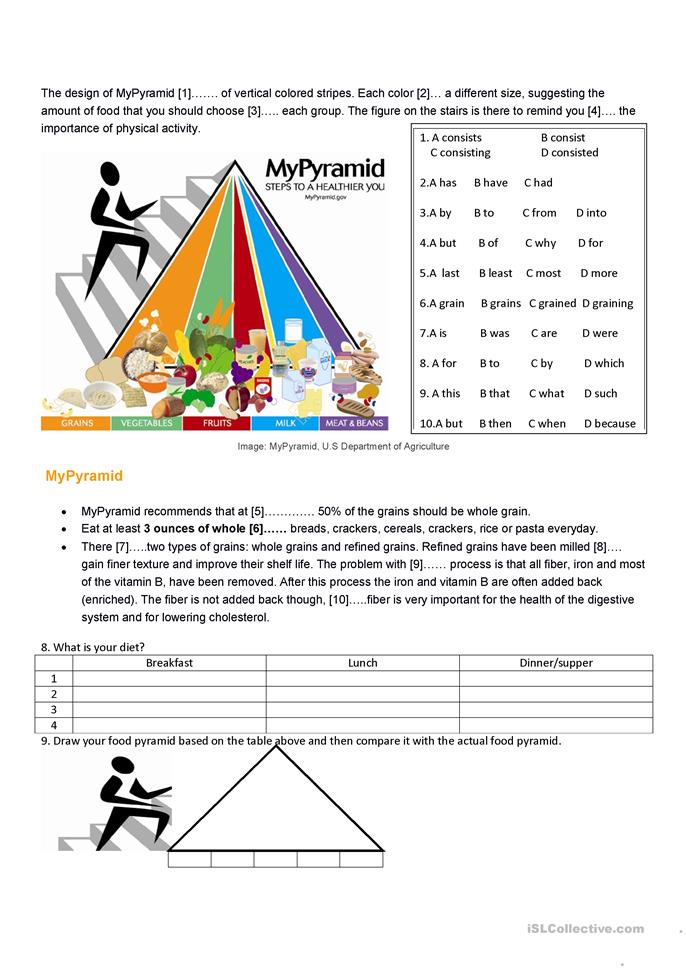 esl coloring pages food pyramid - photo#22