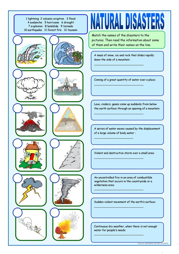 Natural Disasters Matching Exercises worksheet - Free ESL printable ...