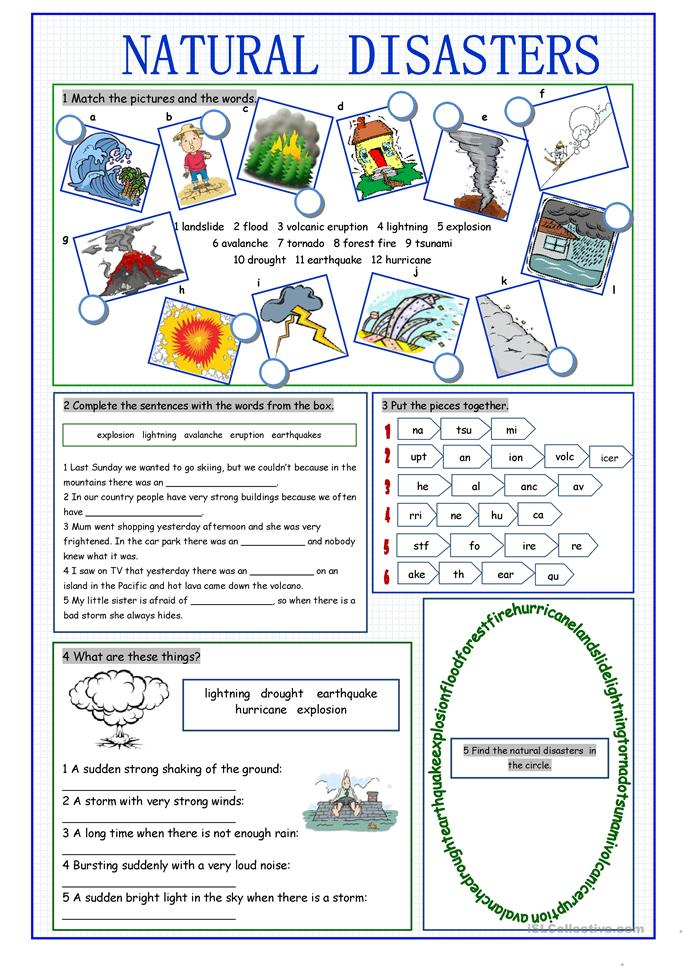 Natural Disasters Vocabulary Exercises - ESL worksheets
