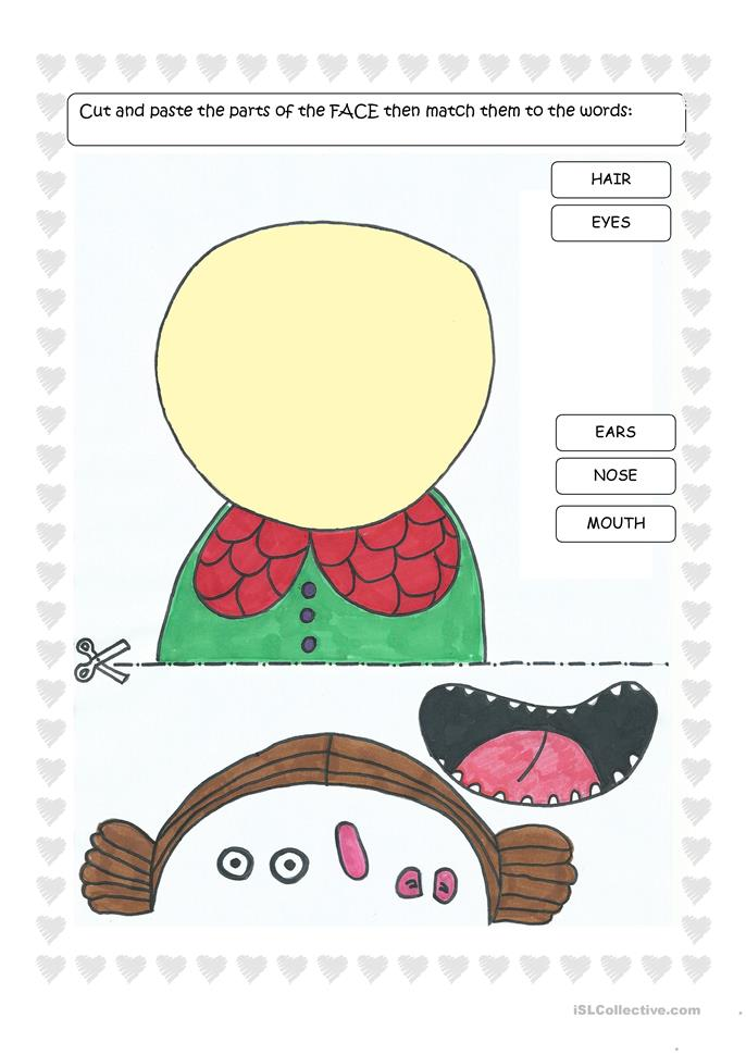 Parts of the Face - Cut and Paste - ESL worksheets