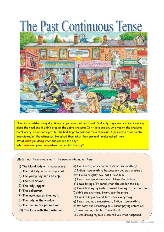 Past continuous with a busy street scene worksheet - Free ...