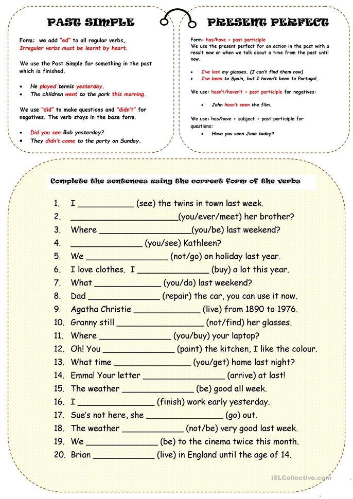 English In Italian: PAST SIMPLE OR PRESENT PERFECT Worksheet