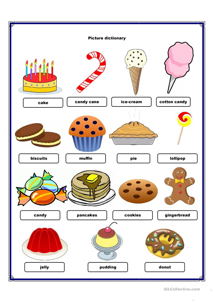 Elementary Classroom Games ~ Picture dictionary sweets worksheet free esl printable