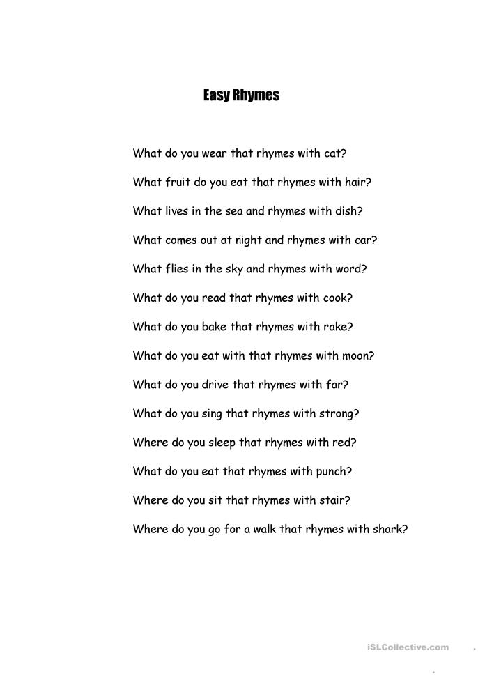 Worksheets Sentences With Rhyming Words For Kids 32 free esl rhyming worksheets words