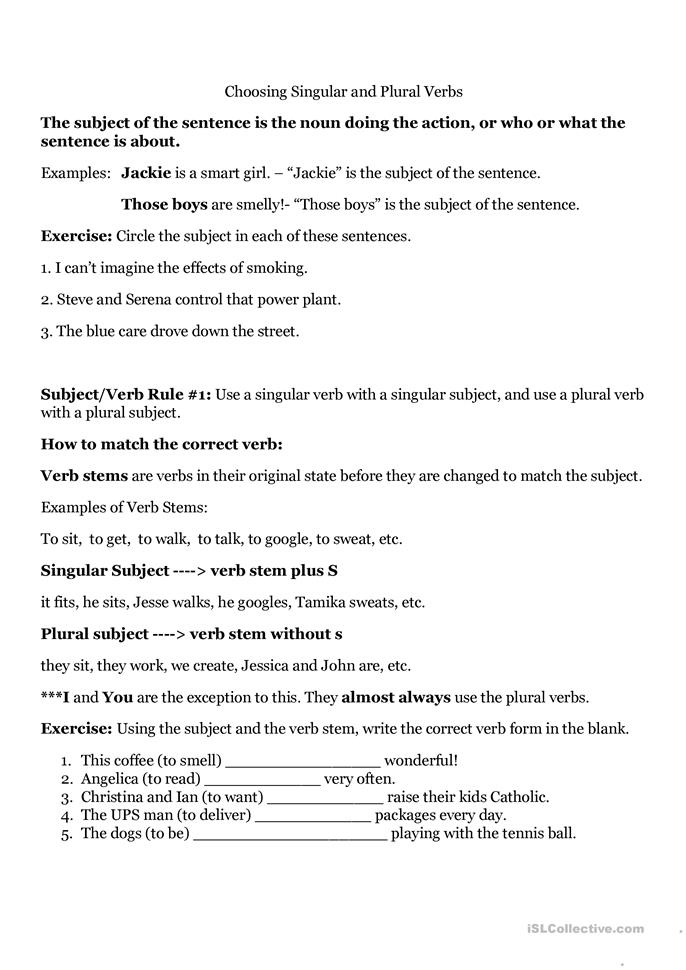 Subject Verb Agreement Worksheets Printable Third Grade Oukasfo