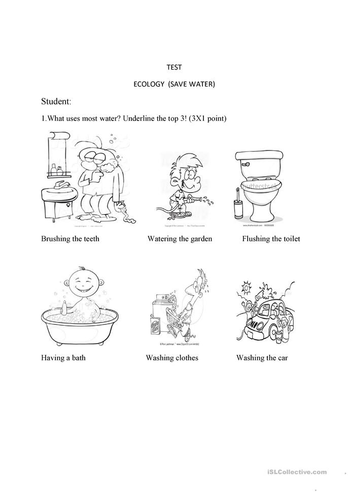 TEST ECOLOGY SAVE WATER worksheet - Free ESL printable worksheets made ...