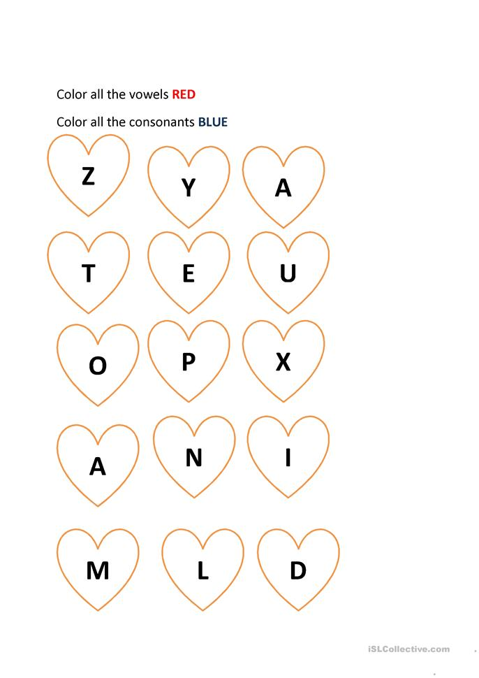 Printables Vowels And Consonants Worksheets valentine color vowels and consonants worksheet free esl printable worksheets made by teachers