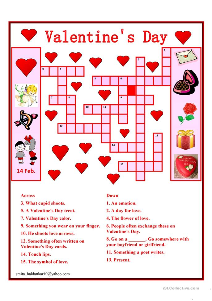 Rare image inside valentine's day crossword puzzle printable