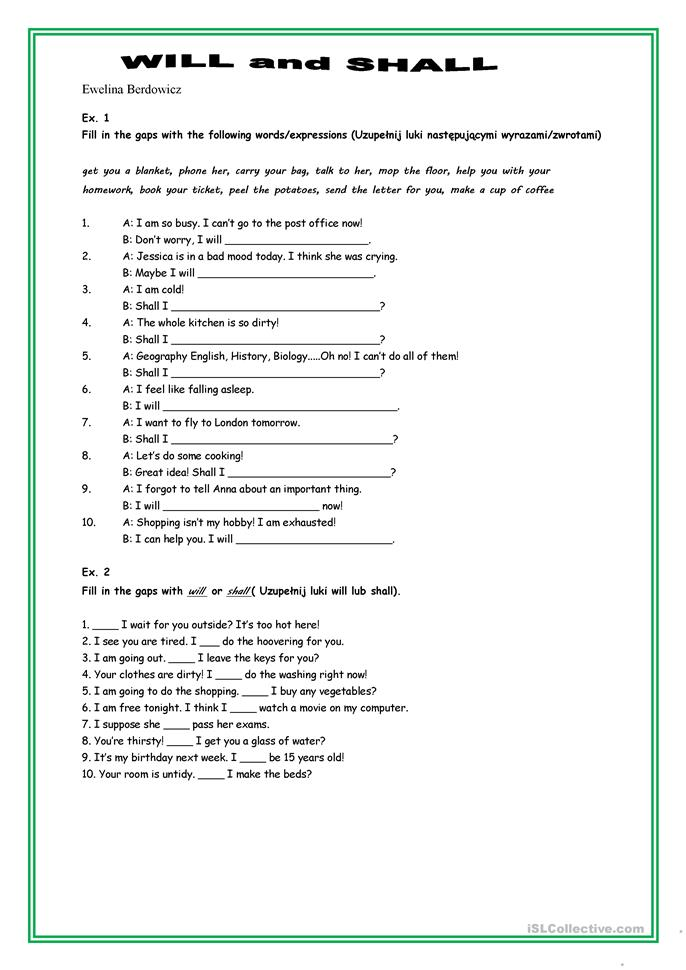 will_shall worksheet - Free ESL printable worksheets made by teachers