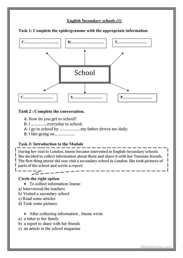 English Secondary Schools (1) - English ESL Worksheets For Distance  Learning And Physical Classrooms