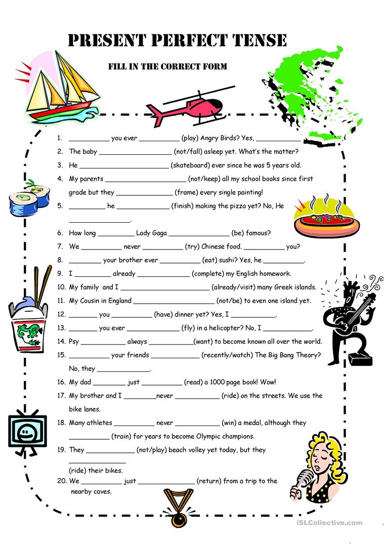 32 FREE ESL present perfect practice worksheets