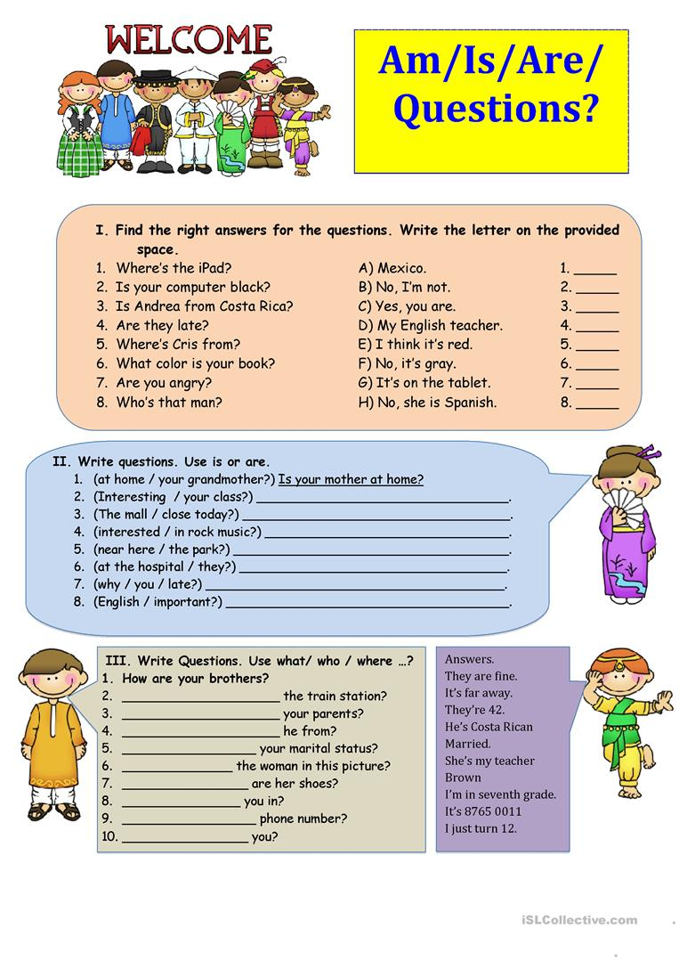 am is are questions worksheet free esl printable worksheets made by teachers. Black Bedroom Furniture Sets. Home Design Ideas