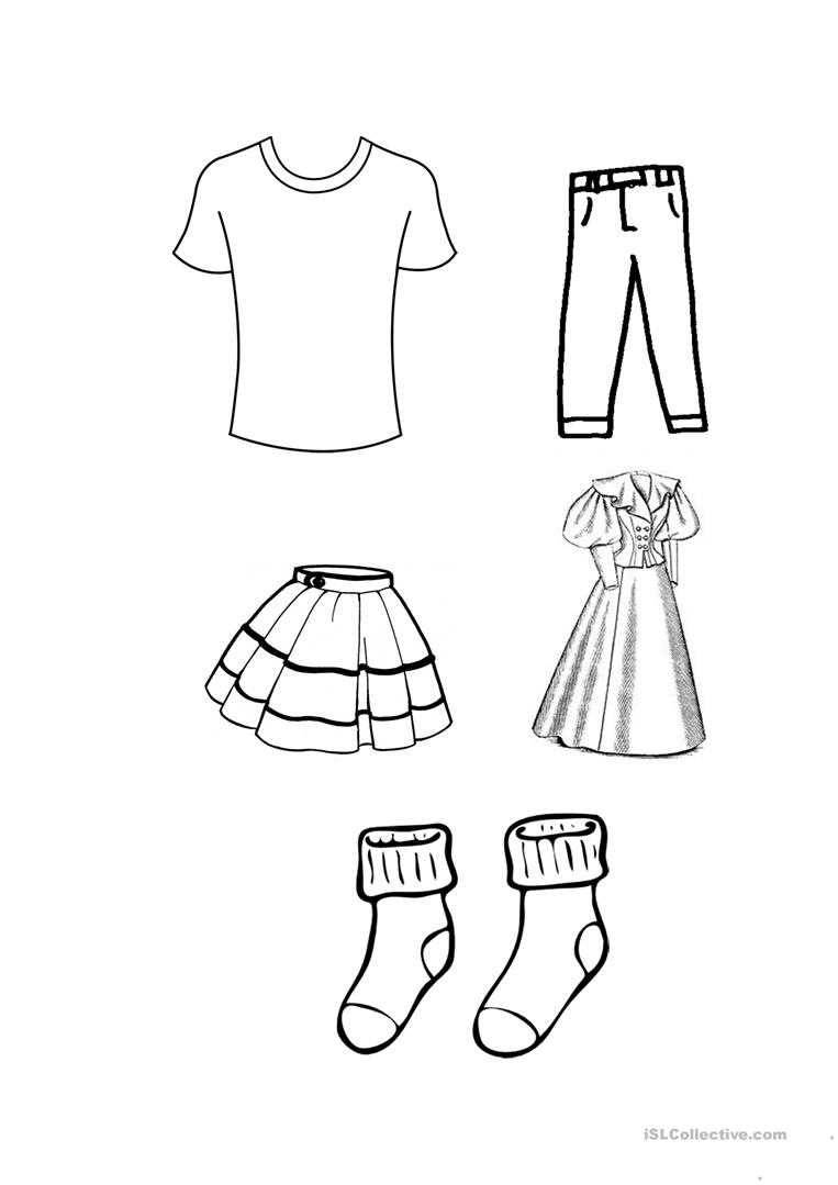 free coloring pages clothes | clothes colouring worksheet - Free ESL printable ...