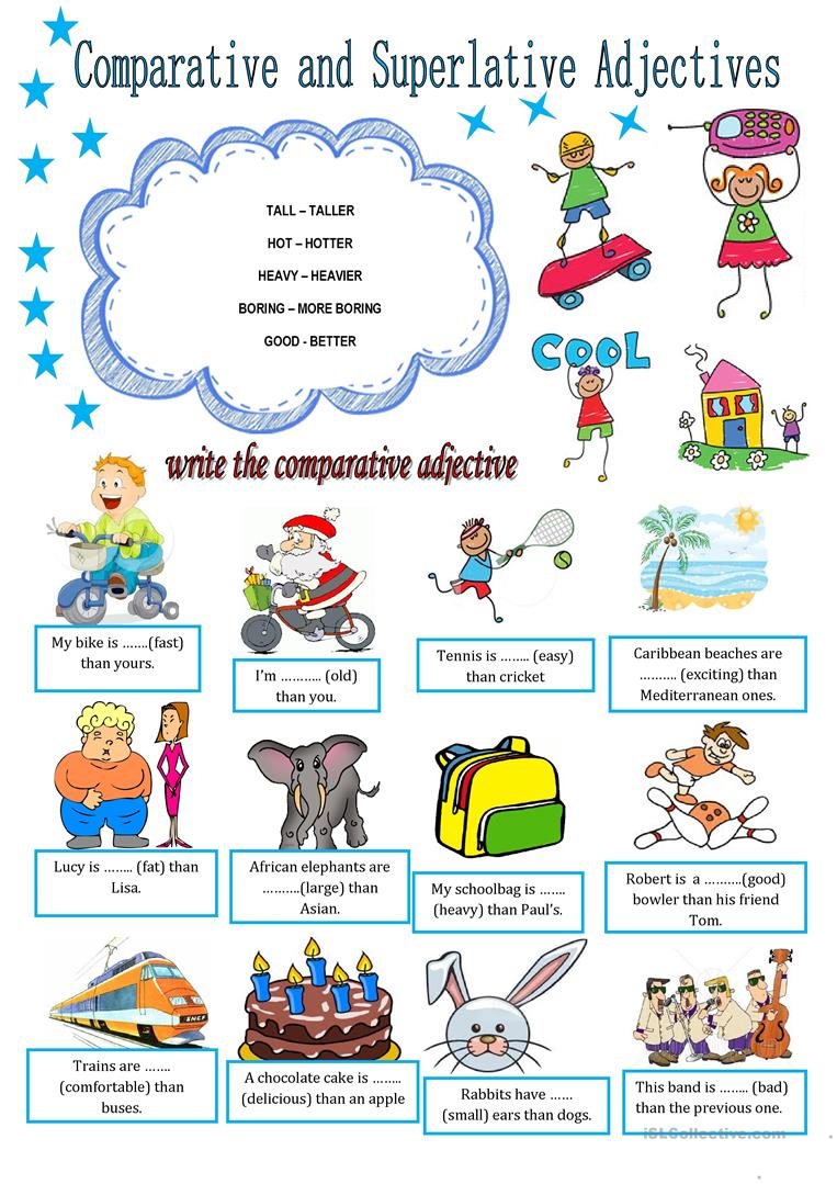 COMPARATIVE AND SUPERLATIVE ADJECTIVES - English ESL Worksheets