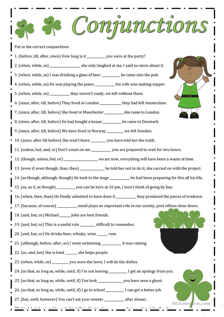 Conjunction free worksheets for grade 5