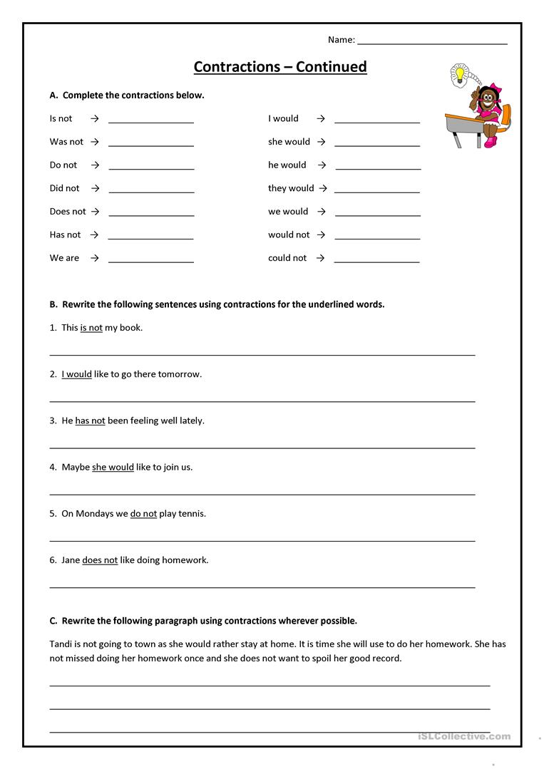 Contractions worksheet Free ESL printable worksheets made by