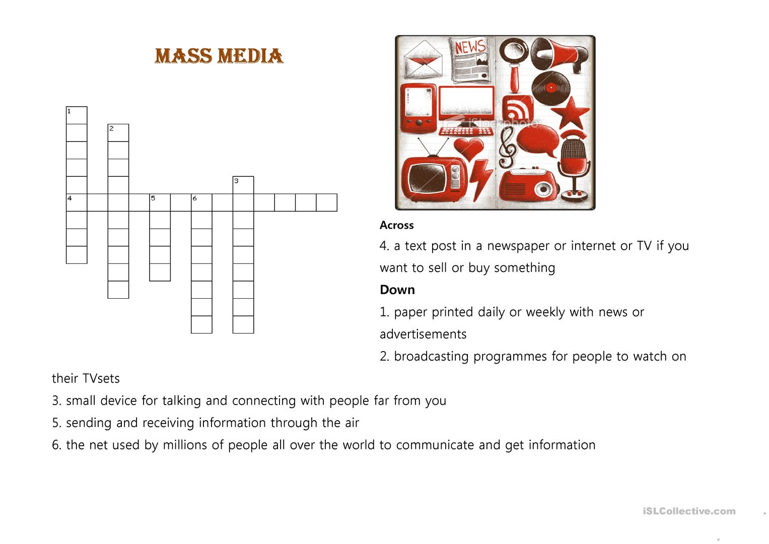 effect of mass media worksheet The influence of the mass media a new york times learning network lesson plan unit considering the effects of electronic media on infants and toddlers in this lesson, students discuss the influx of media products geared toward infants and young children.