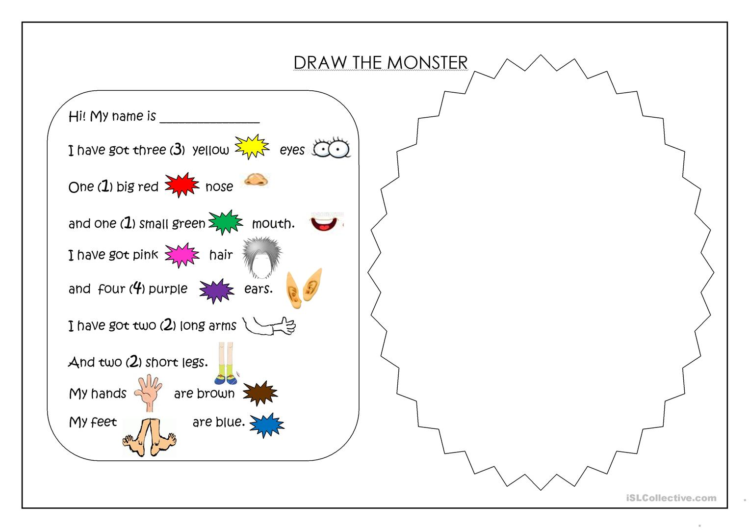 worksheet Body Parts Drawing Worksheet draw a monster worksheet free esl printable worksheets made by full screen