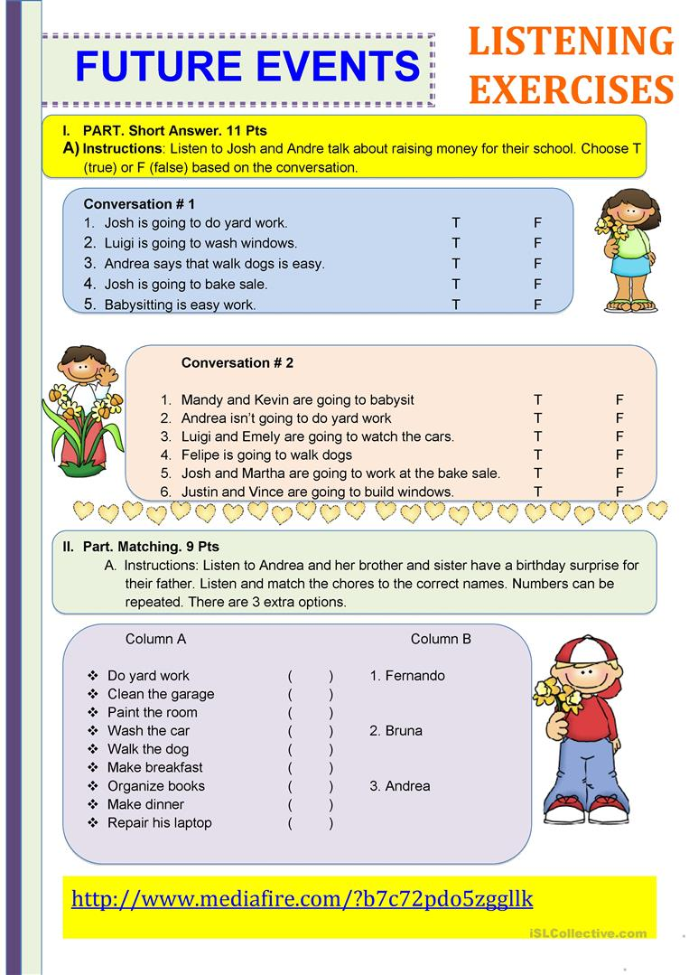 Worksheets Listening Comprehension Worksheets 25 free esl listening exercise worksheets future events exercises with audio