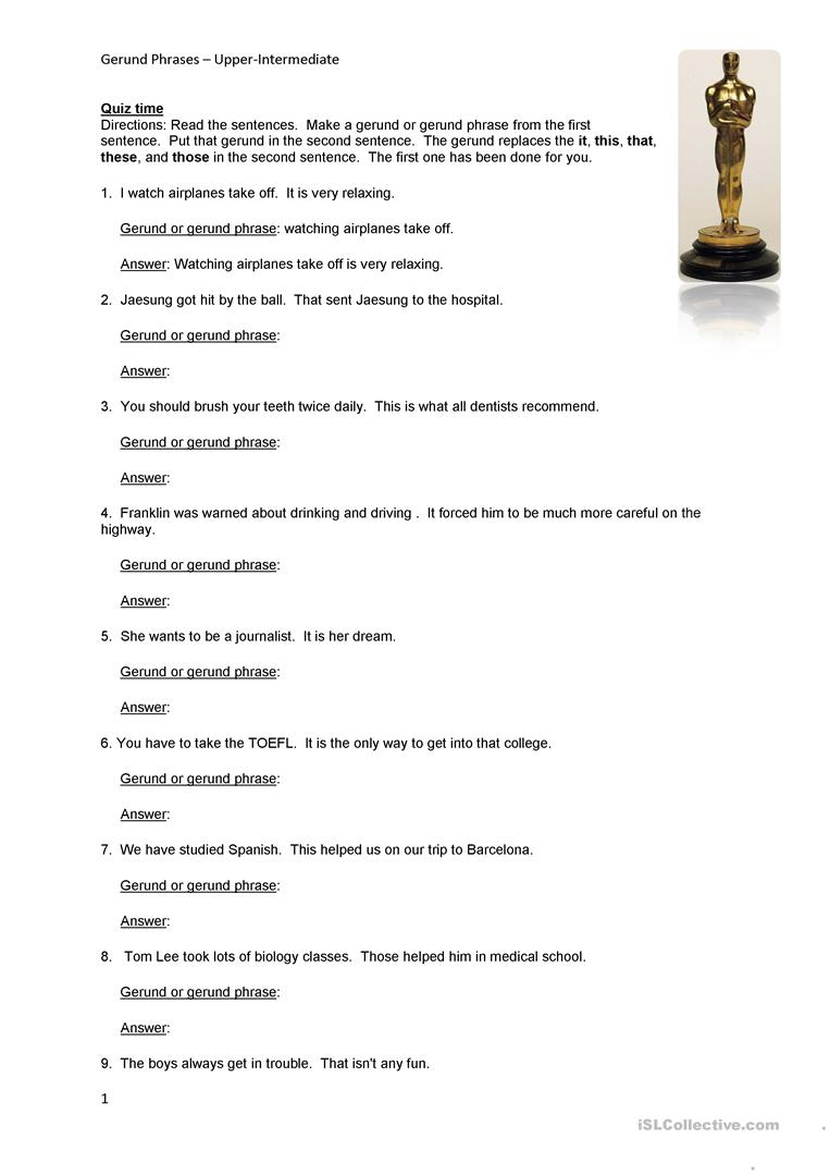 Gerund Phrase Task worksheet Free ESL printable worksheets made – Gerunds and Gerund Phrases Worksheet