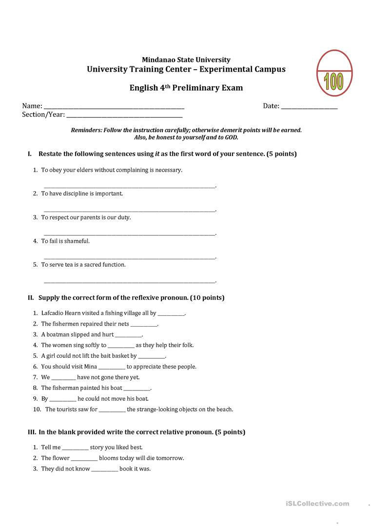 Grade 7 Unit Test English Esl Worksheets For Distance Learning And Physical Classrooms