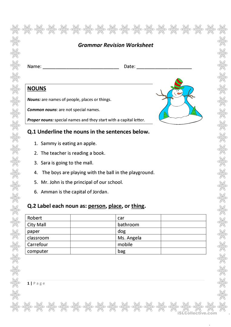 Grammar Revision Sheet English Esl Worksheets For Distance