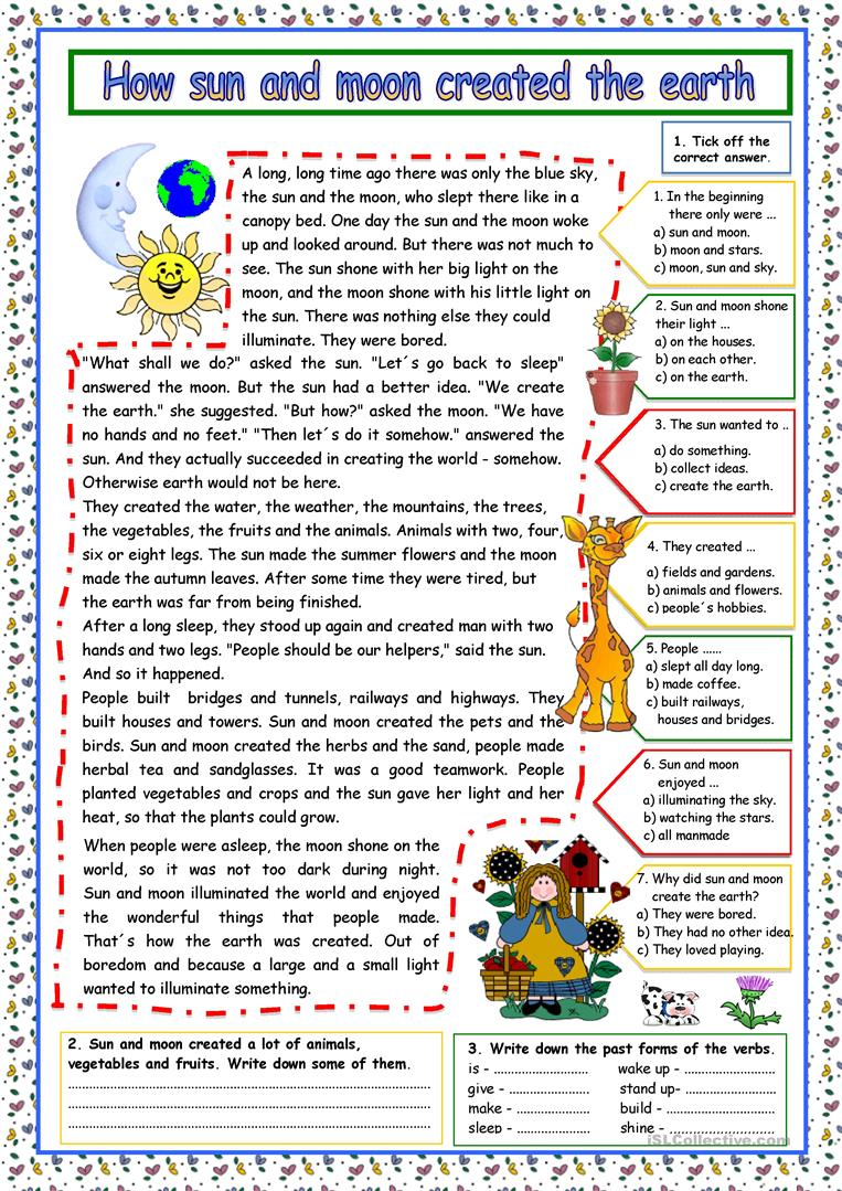 how sun and moon created the earth key worksheet free esl printable worksheets made by teachers. Black Bedroom Furniture Sets. Home Design Ideas