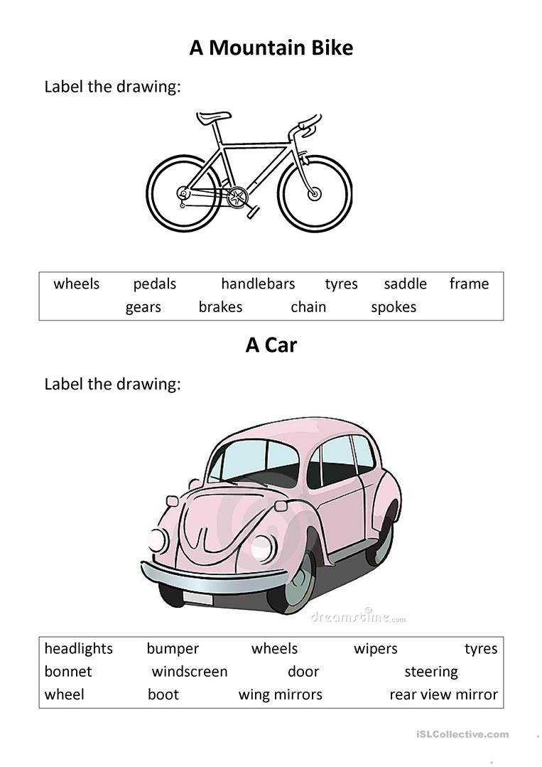 Label a Car and a Mountain Bike worksheet - Free ESL printable ...