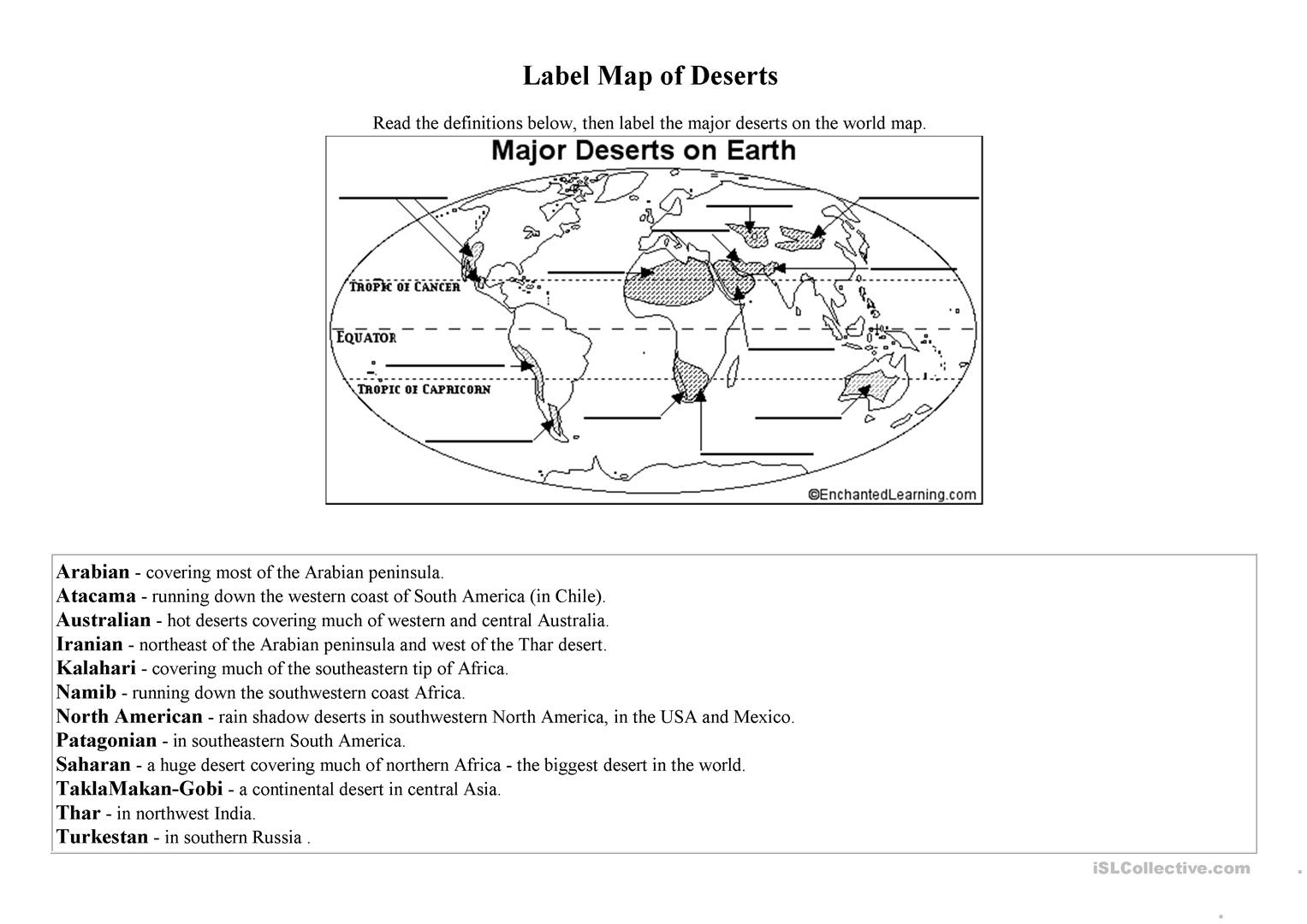 Label Map Of Deserts Of The World Worksheet Free Esl Printable