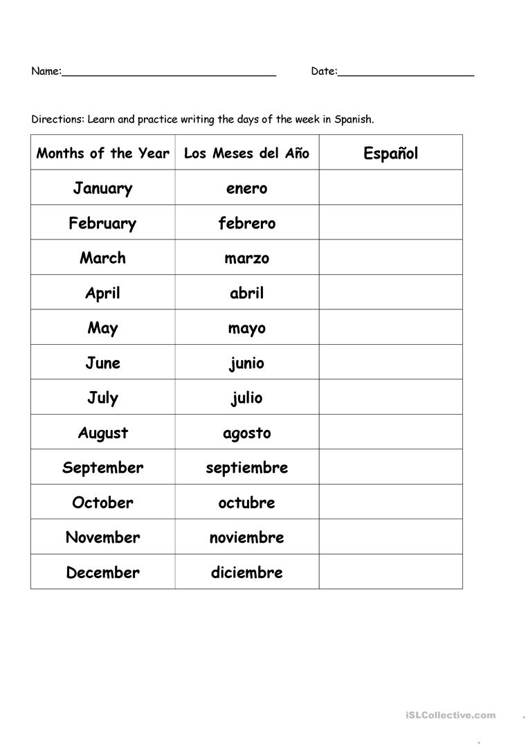 Months of the Year in Spanish - English ESL Worksheets
