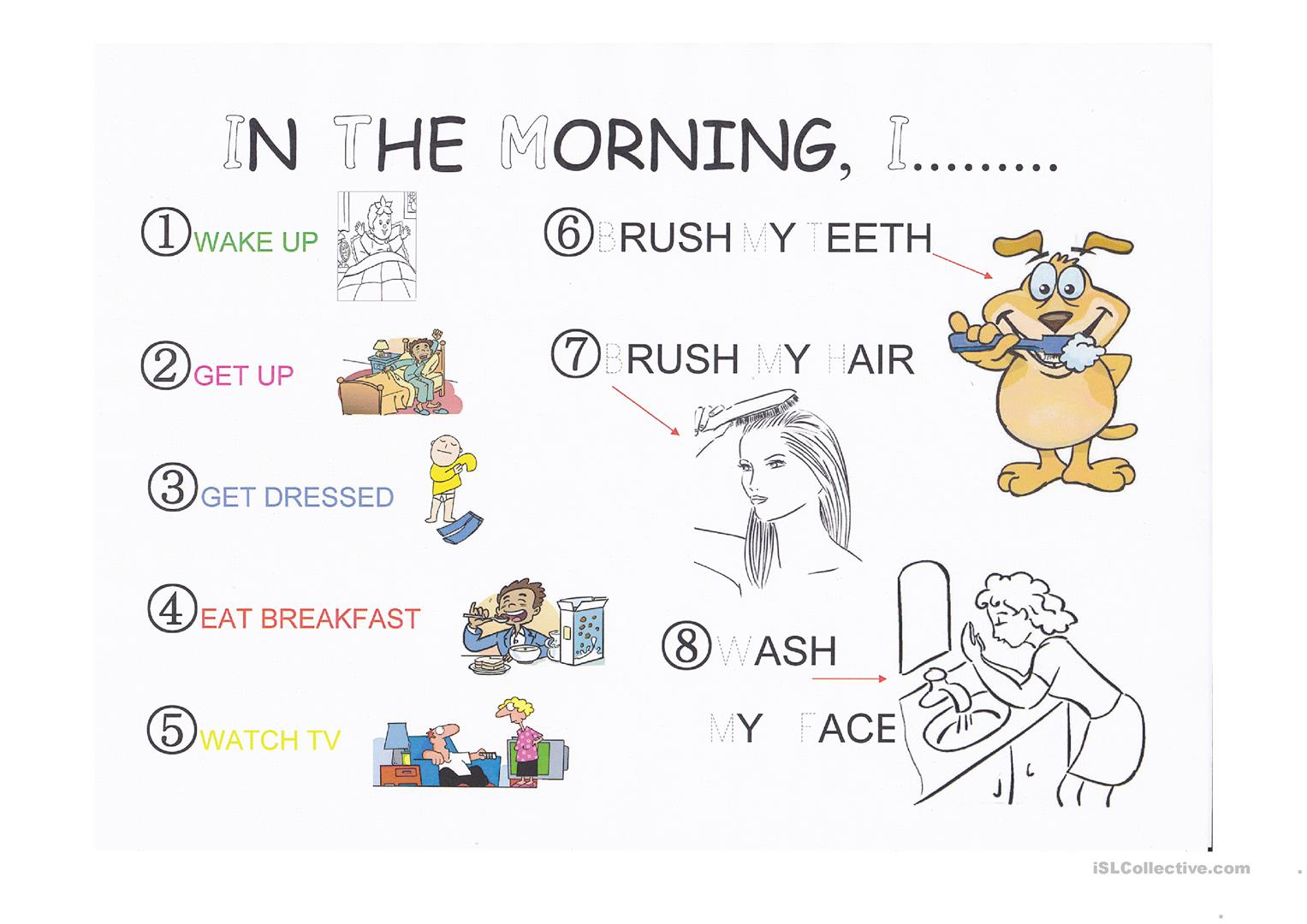 morning routine for little kids worksheet free esl projectable
