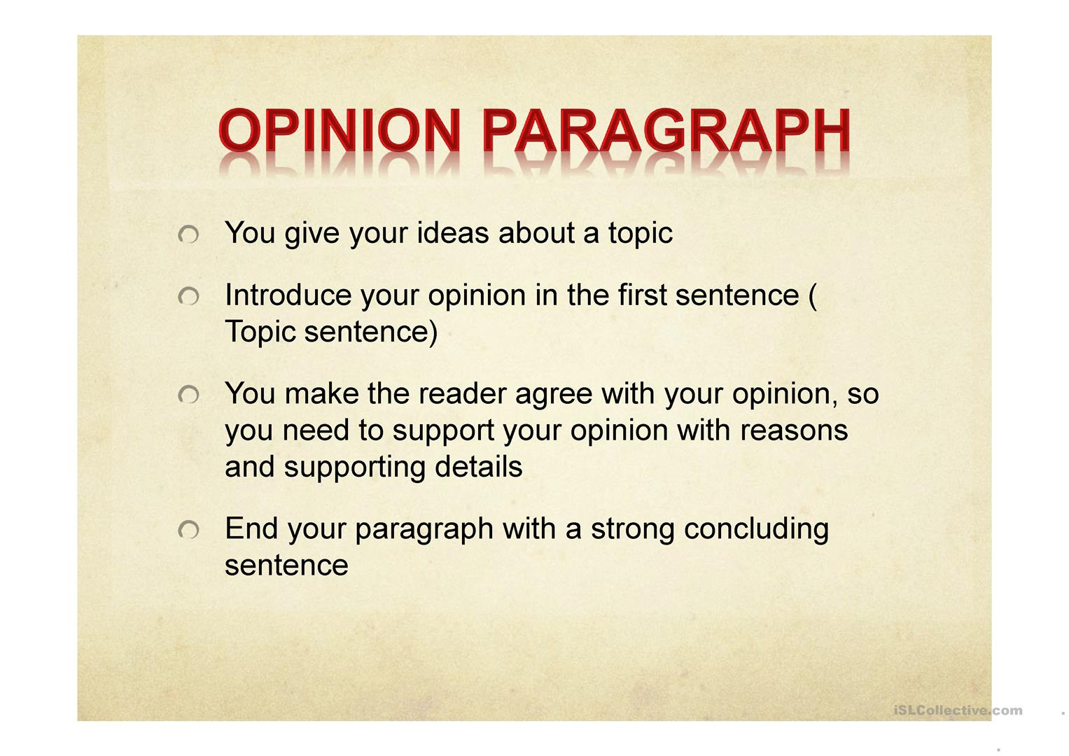 opinion paragraph worksheet - Free ESL projectable worksheets made ...
