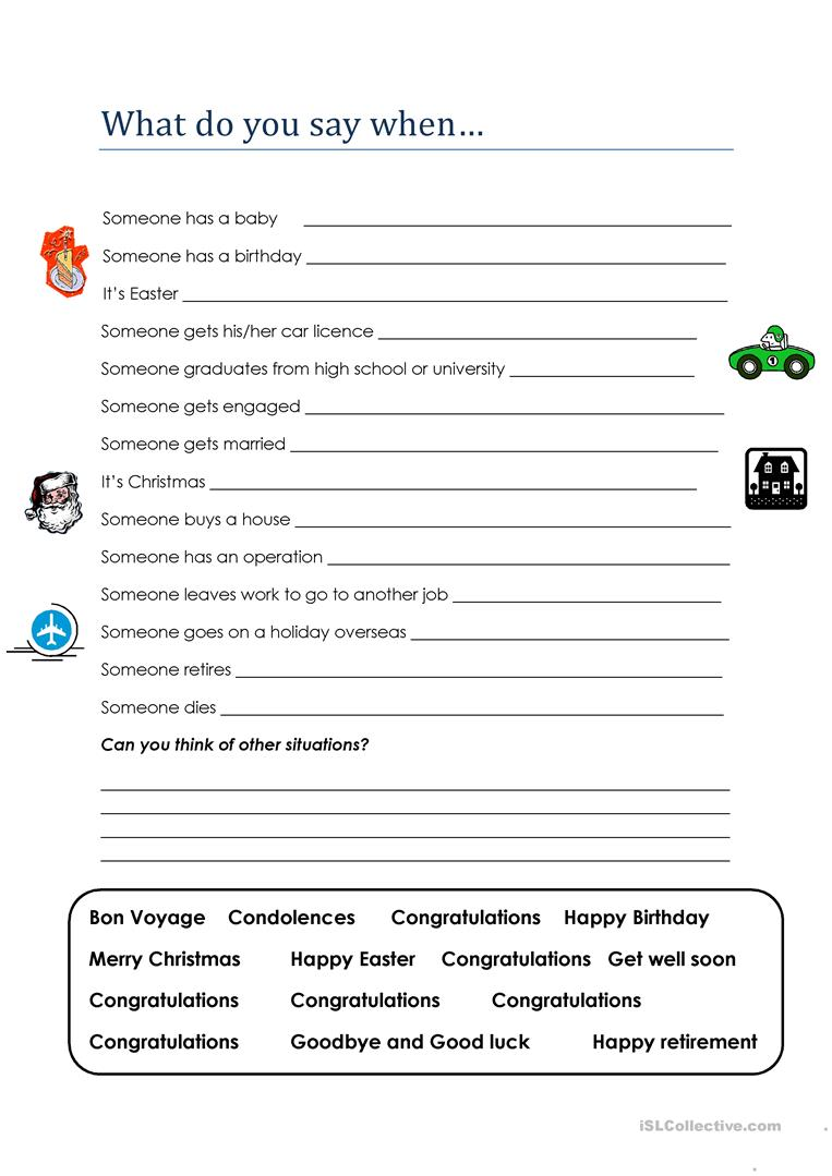 Real English- What do you say when... worksheet - Free ESL printable ...