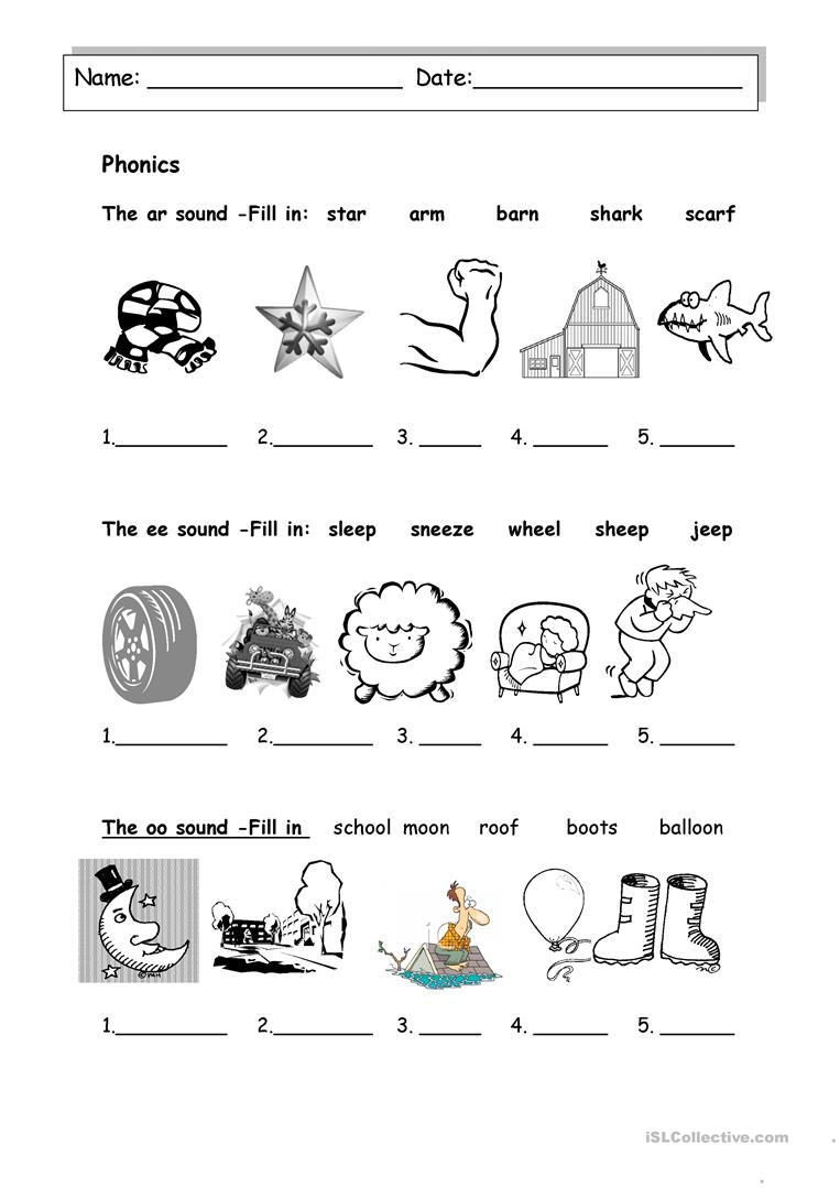 Revision- ee oo and ar sound - English ESL Worksheets