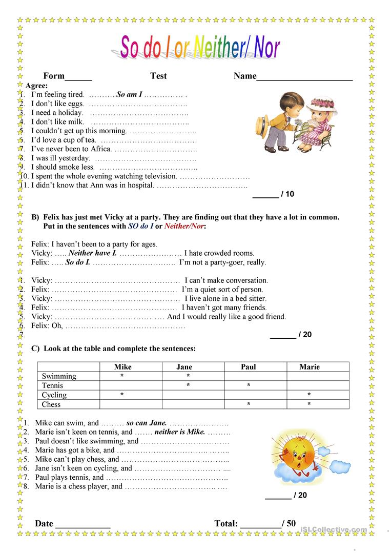 11 Free Esl Neither Nor Worksheets