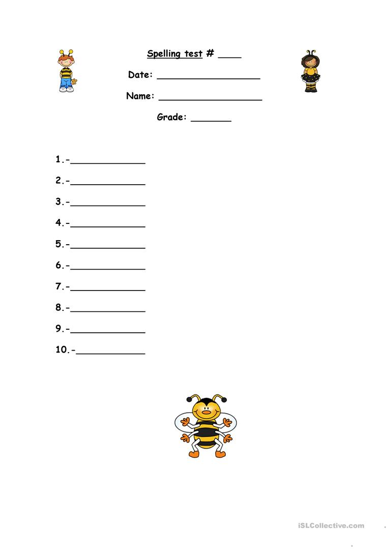 spelling test format worksheet free esl printable worksheets made by teachers. Black Bedroom Furniture Sets. Home Design Ideas