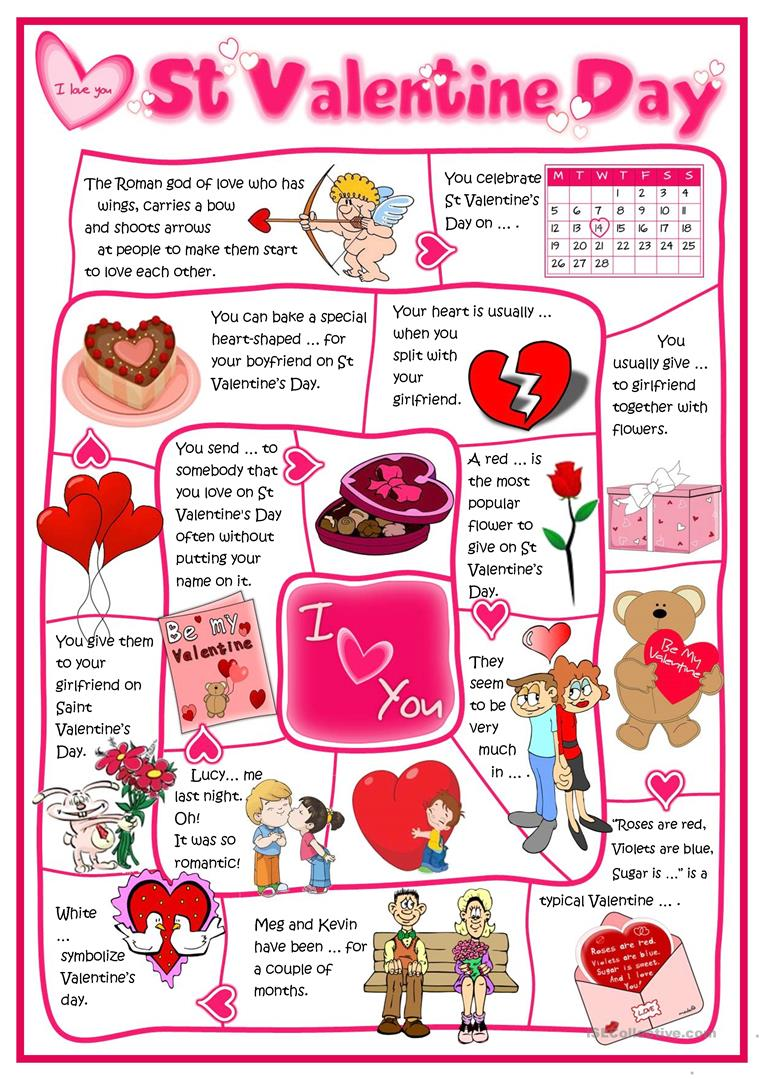 st valentine 39 s day board game worksheet free esl printable worksheets made by teachers. Black Bedroom Furniture Sets. Home Design Ideas