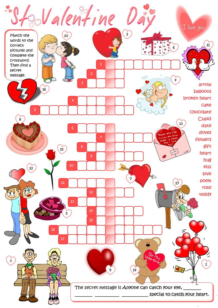 photograph about Valentine's Day Crossword Puzzle Printable titled St Valentines Working day - crossword - English ESL Worksheets