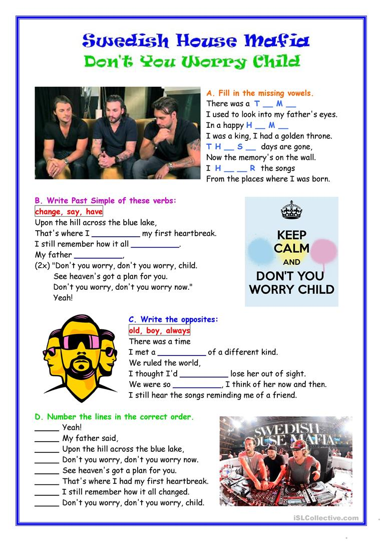 worksheet Dance Worksheets 27 free esl dance worksheets swedish house mafia dont you worry child worksheet