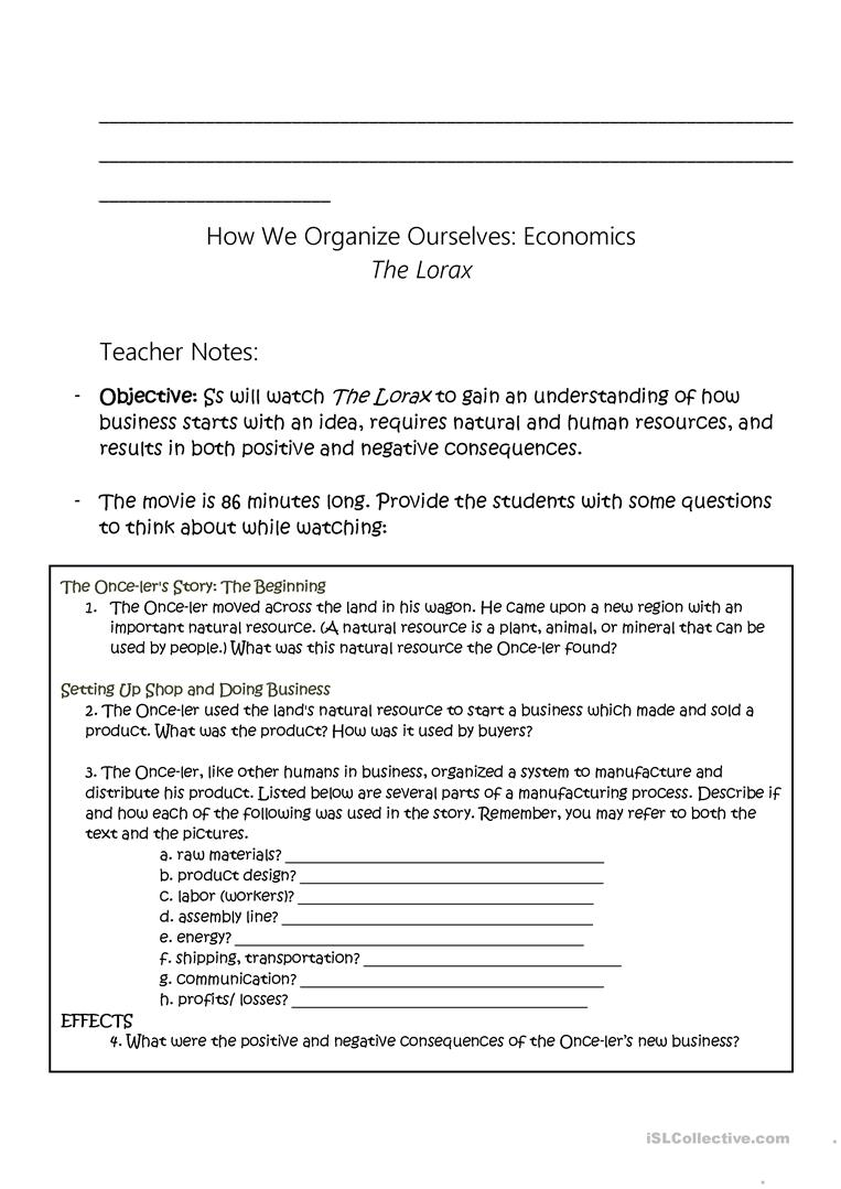 worksheet Lorax Worksheet the lorax economic study worksheet free esl printable full screen