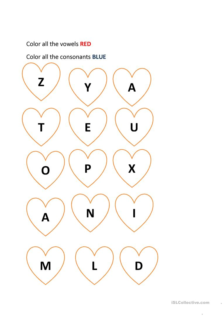 Valentine color: vowels and consonants worksheet - Free ...