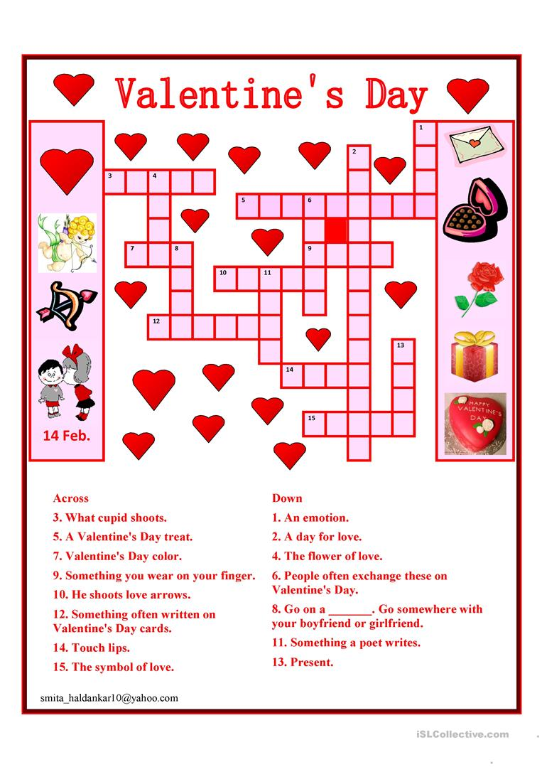 graphic regarding Valentine's Day Crossword Puzzle Printable named Valentine Working day Crossword - English ESL Worksheets