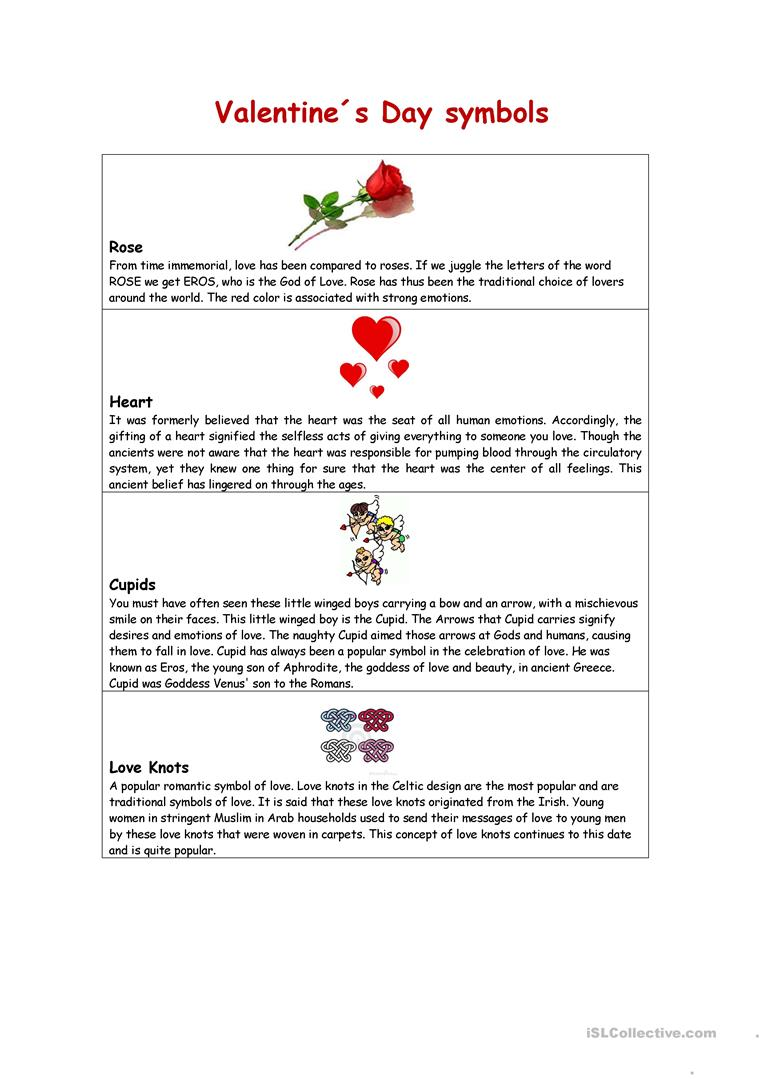 Valentines Day Symbols Worksheet Free Esl Printable Worksheets