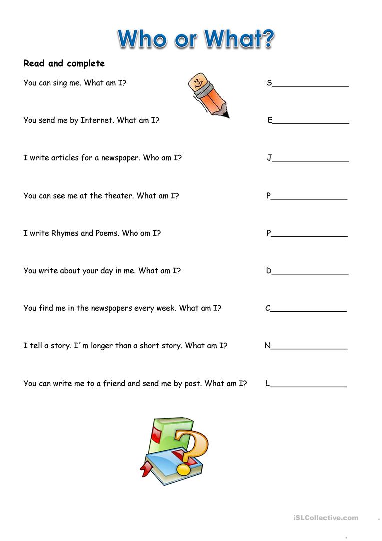 Who or what worksheet - Free ESL printable worksheets made by teachers