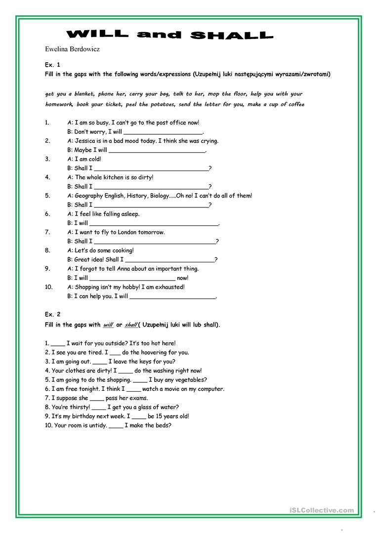 Shall and will esl worksheet